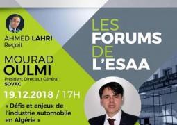 L'Essa acceuillera le Pdg de Sovac autour de la thématique    Défis et enjeux de l industrie automobile en Algérie