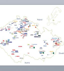 carte des industrie des equipmentier et constructeur en republique tchèque