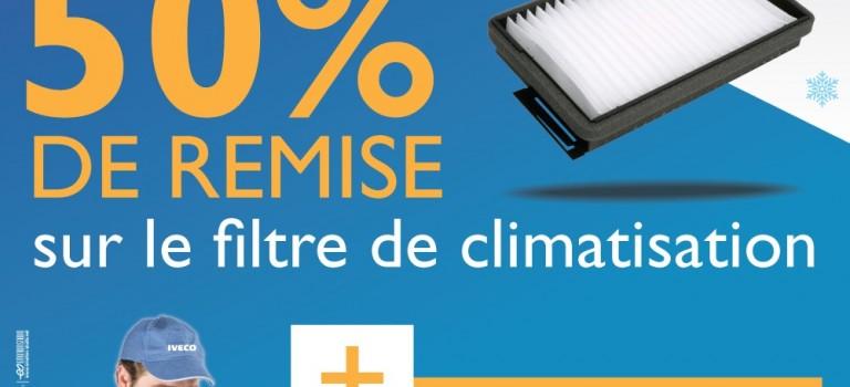 Remise  de 50 % sur le filtre de climatisation : Restez au frais est le mot d'orde de compagne chez Ival