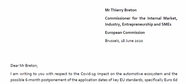 Lettre de l'ACEA au commissaire Breton au sujet des stocks des véhicules incompatible à la nouvelle norme en vigueur dans les mois à venir